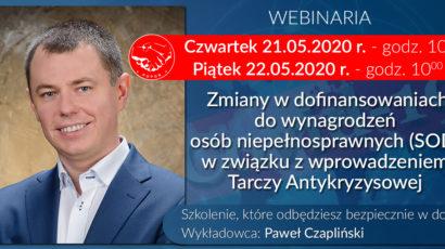 Szkolenie online – Zmiany w SOD w związku z Tarczą Antykryzysową – dwa terminy 21.05 i 22.05 godz.10:00