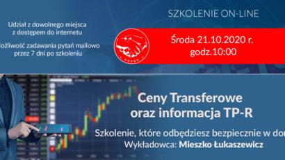 Szkolenie on-line:  Ceny Transferowe oraz informacja TP-R. Środa 21.10.2020 r., godz.10:00
