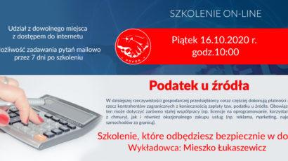 Szkolenie on-line:  Podatek u źródła. Piątek 16.10.2020 r., godz.10:00
