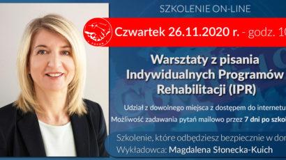 Szkolenie online. Warsztaty z pisania Indywidualnych Programów Rehabilitacji (IPR) Czwartek 26.11 godz.10:00