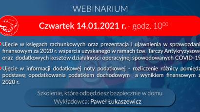 Szkolenie online – Bilans i zamknięcie roku 2020 z uwzględnieniem wsparcia z Tarczy Antykryzysowej -14.01.2021 r.